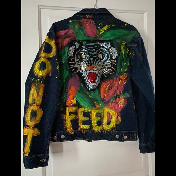 Levis Hand Painted Sequin Patch Tiger Jean Jacket